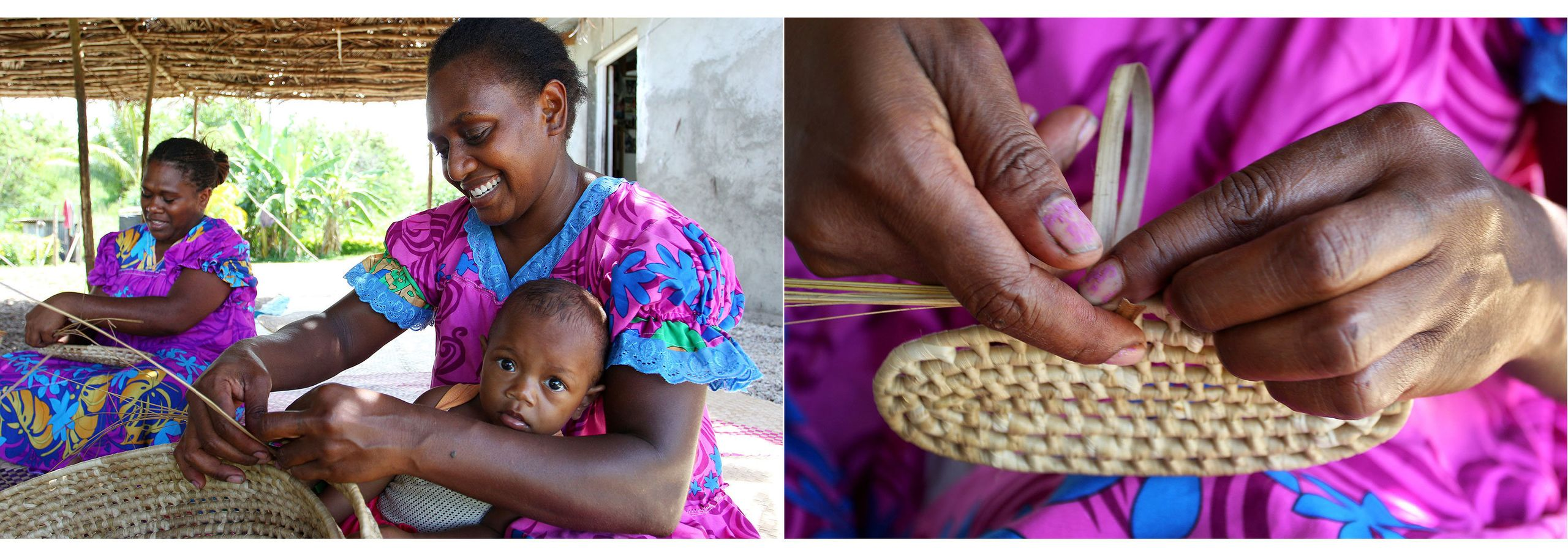 Local weavers Christina Lore (L) and Selina Kalsong (R), holding her grand-daughter Kylie, weave from pandanus leaves at thei
