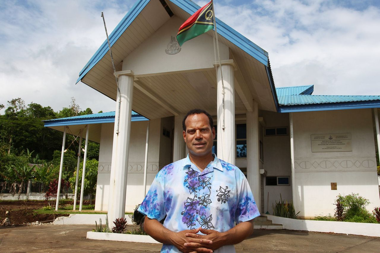 Vanuatu Foreign Minister Ralph Regenvanu poses outside his office in Port Vila in February 2019.