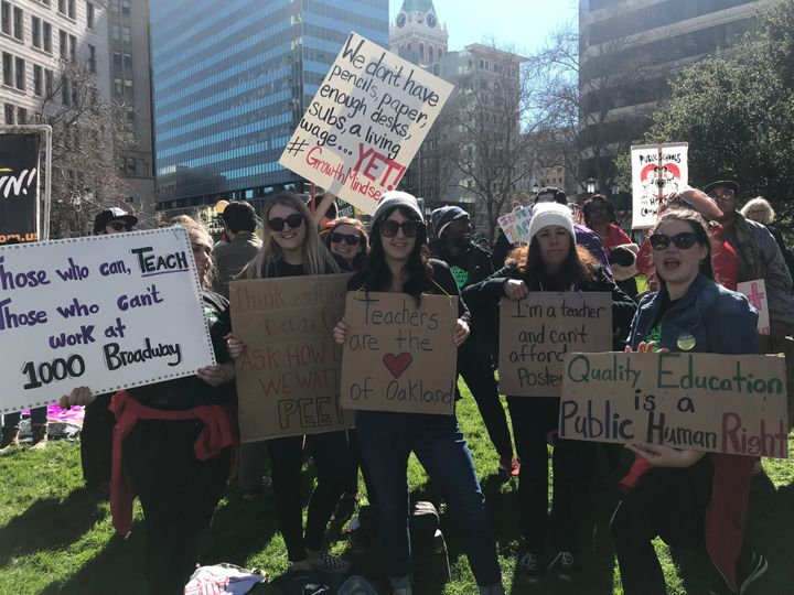 Oakland educators on strike, protesting at the rally at city hall — Feb. 21, Oakland, California.