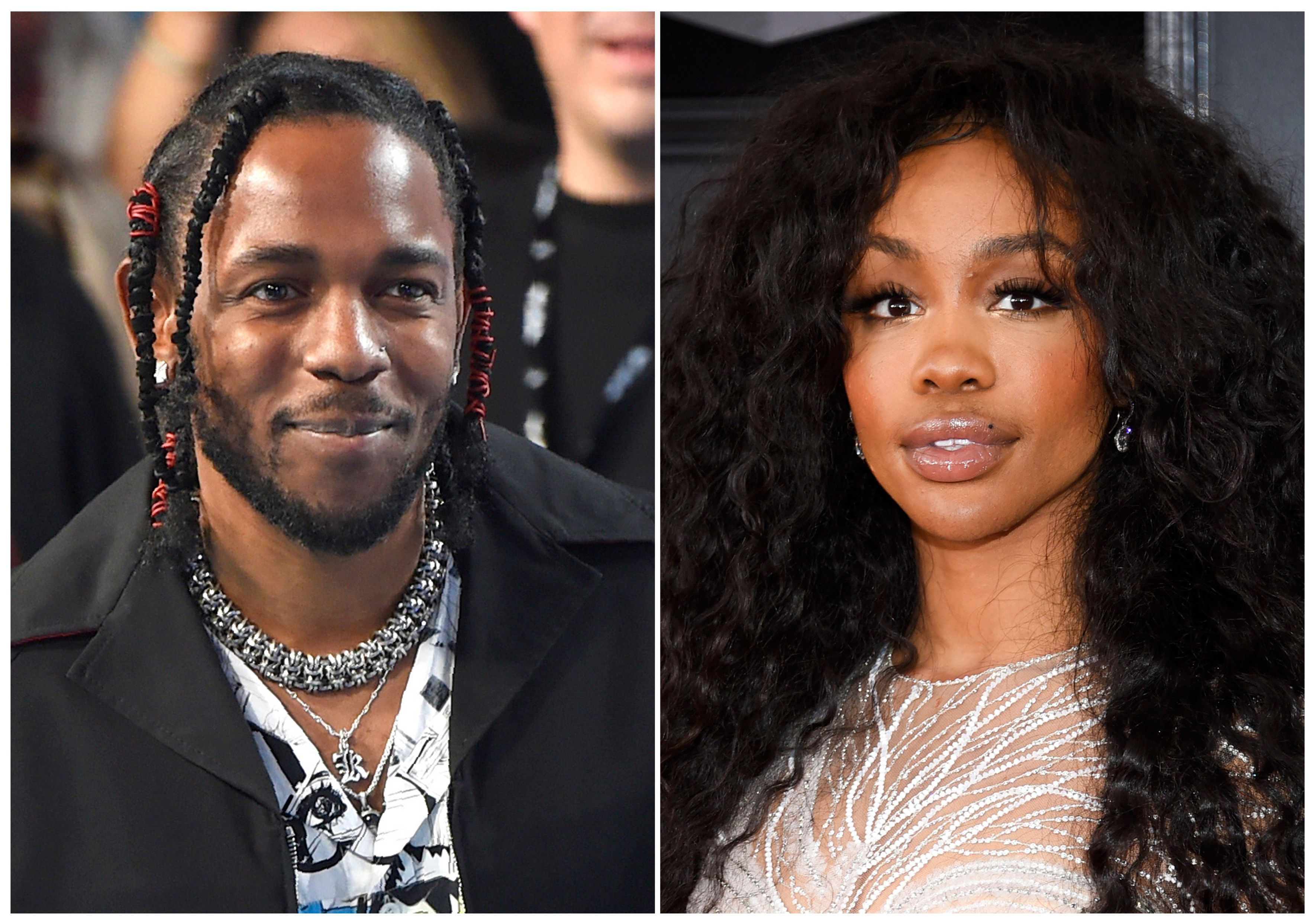 "This combination photo shows musician Kendrick Lamar, left, and Solana Rowe, better known as SZA, who, along with Mark Spears and Anthony Tiffith, were nominated for an Oscar for best original song for ""All the Stars,"" from the film ""Black Panther.""  Alexander Shuckburgh, who is also credited with writing the song, is not included in the Oscar nomination because the Academy of Motion Picture Arts and Sciences limits the number of nominees in the best original song category to four names. (AP Photo)"