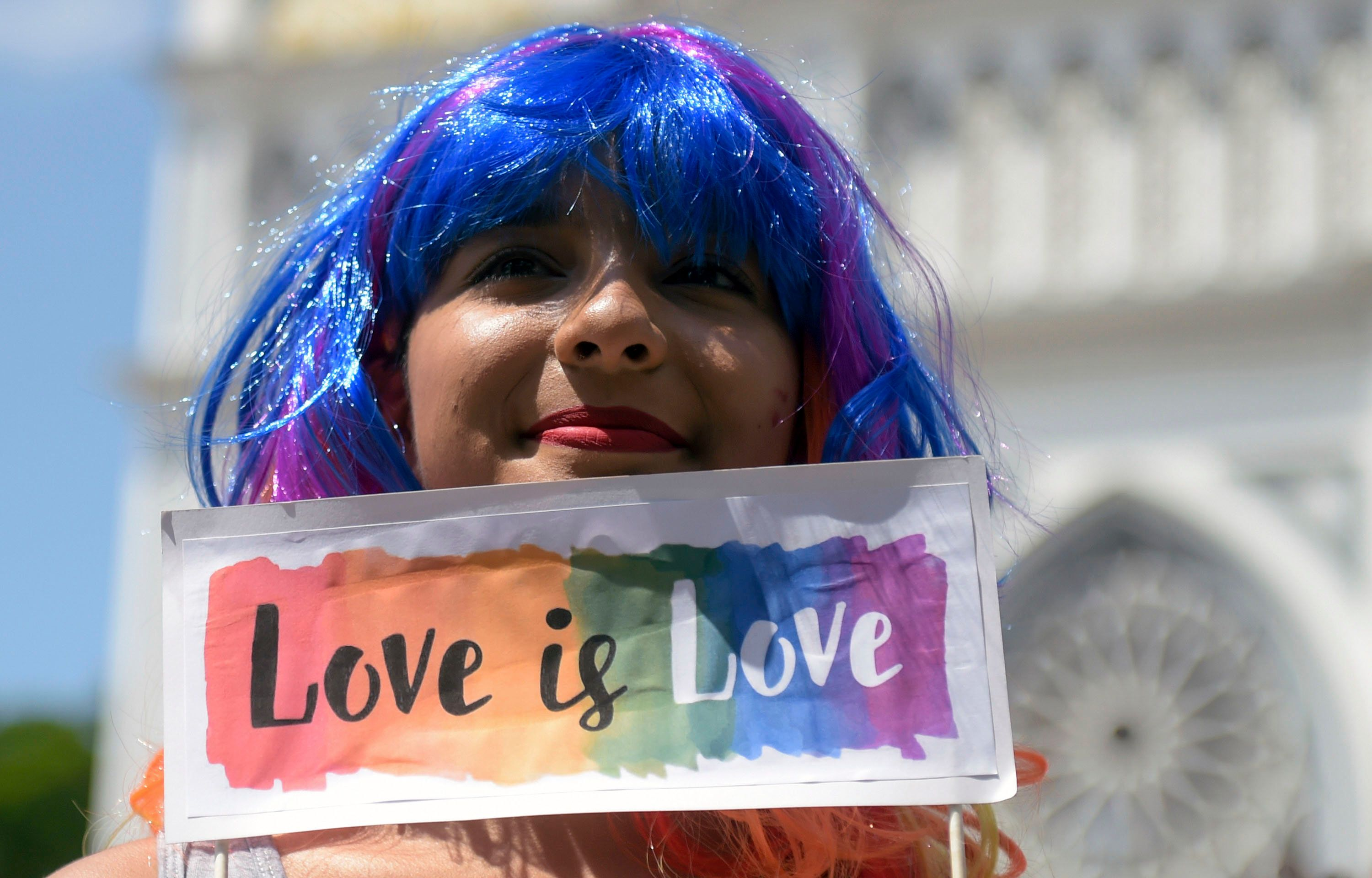 Members of the LGBT community and activists demonstrate in front of Carmen church in Panama City, to make visible sexual and gender diversity during Pope Fracis' visit to Panama for the World Youth Day, on Juanury 25, 2019. (Photo by Raul Arboleda / AFP)        (Photo credit should read RAUL ARBOLEDA/AFP/Getty Images)