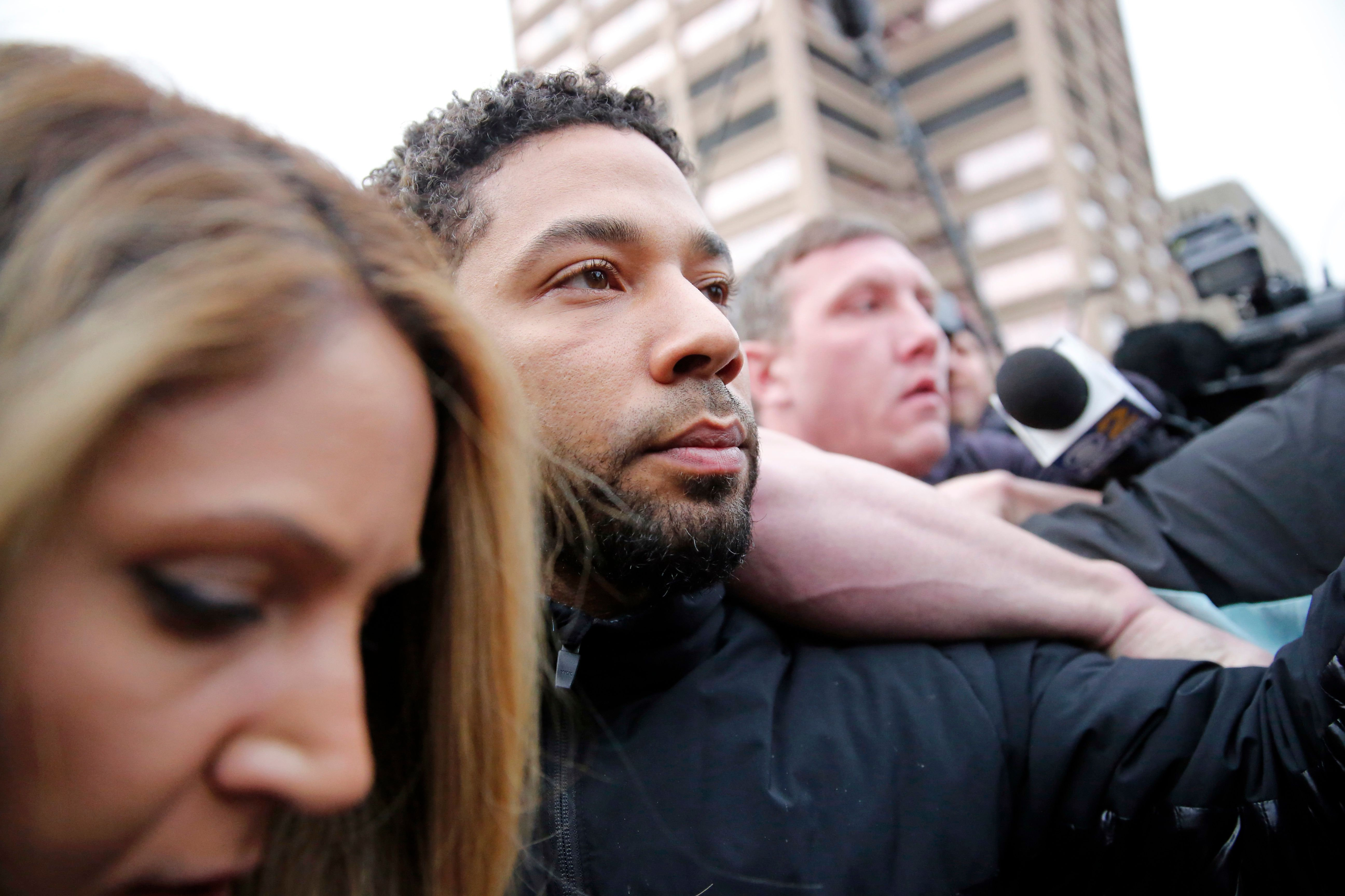 CHICAGO, ILLINOIS - FEBRUARY 21: Empire actor Jussie Smollett leaves Cook County jail after posting bond on February 21, 2019 in Chicago, Illinois.  Smollett has been accused with arranging a homophobic, racist attack against himself in an attempt to raise his profile because he was dissatisfied with his salary.  (Photo by Nuccio DiNuzzo/Getty Images)