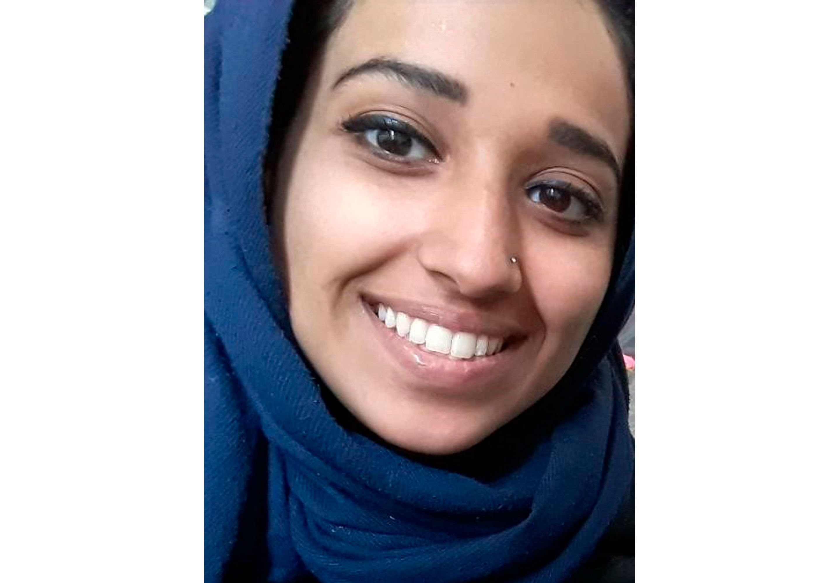 This undated image provided by attorney Hassan Shibly shows Hoda Muthana, an Alabama woman who left home to join the Islamic State after becoming radicalized online. Muthana realized she was wrong and now wants to return to the United States, Shibly, a lawyer for her family said Tuesday, Feb. 19, 2019. (Hoda Muthana/Attorney Hassan Shibly via AP)