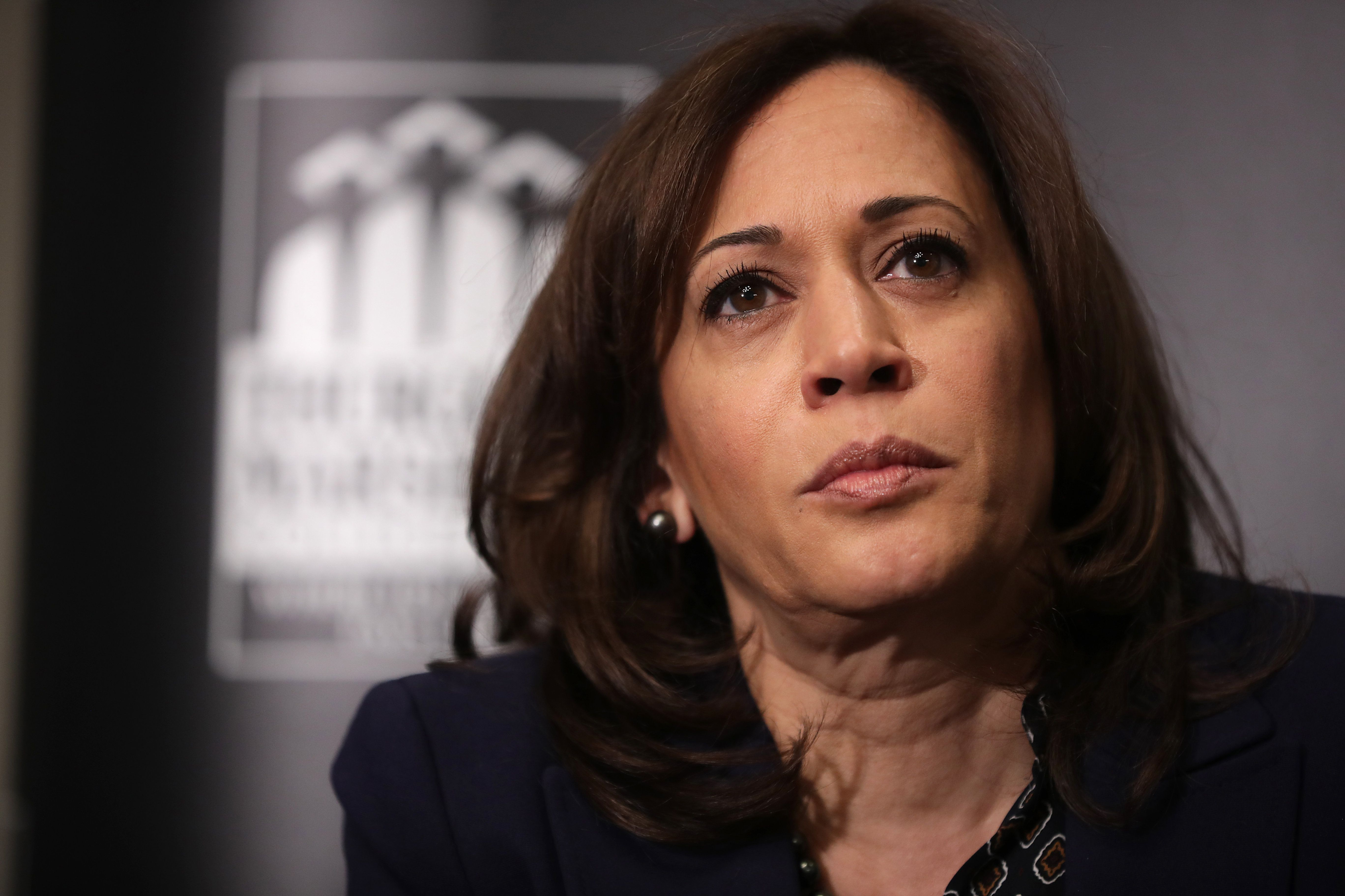 WASHINGTON, DC - FEBRUARY 07: Democratic presidential candidate Sen. Kamala Harris (D-CA) participates in a interview and question-and-answer session with leaders from historically black colleges and universities during a Thurgood Marshall College Fund event at the JW Marriott February 07, 2019 in Washington, DC. Harris officially announced her candidacy for president of the United States on January 21. (Photo by Chip Somodevilla/Getty Images)
