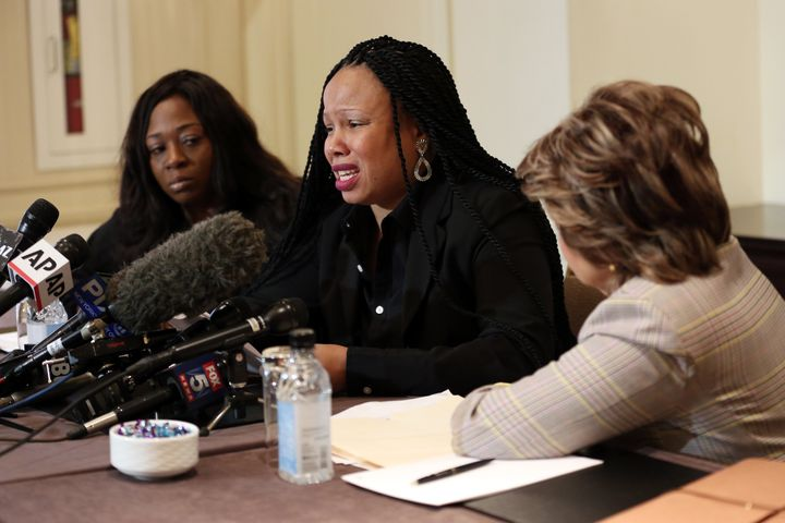 Rochelle Washington (left), Latresa Scaff (center) and attorney Gloria Allred speak at the press conference as two new accuse