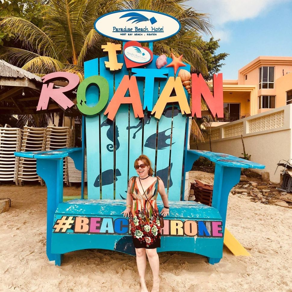 Piazza celebrating her 40th birthday on Roatan Island in 2018 -- 10 years after her near-death experience.