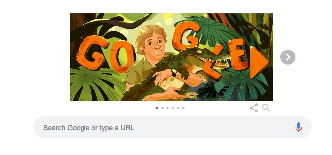 The illustration of Steve Irwin on Google's search page on Feb. 22.
