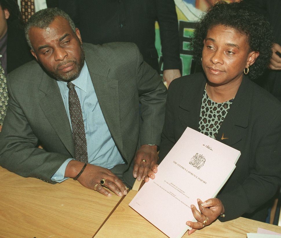 Doreen and Neville Lawrence during a news conference at the Home Office after hearing Home Secretary...