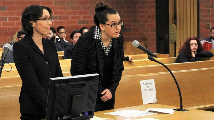 University of Connecticut law professor Jessica Rubin, left, shepherds arguments in a 2017 animal abuse case in Hartford, Con