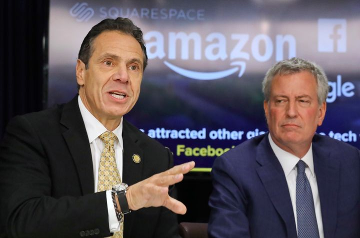 New York Gov. Andrew Cuomo, left, and New York Mayor Bill de Blasio at a news conference on Nov. 13, 2018, in New York after