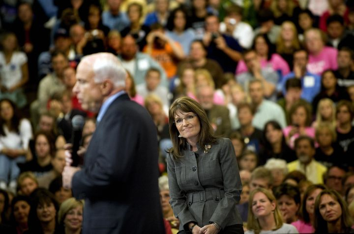 John McCain, 2008 Republican presidential candidate, and Sarah Palin, his vice presidential nominee, respond to angry support