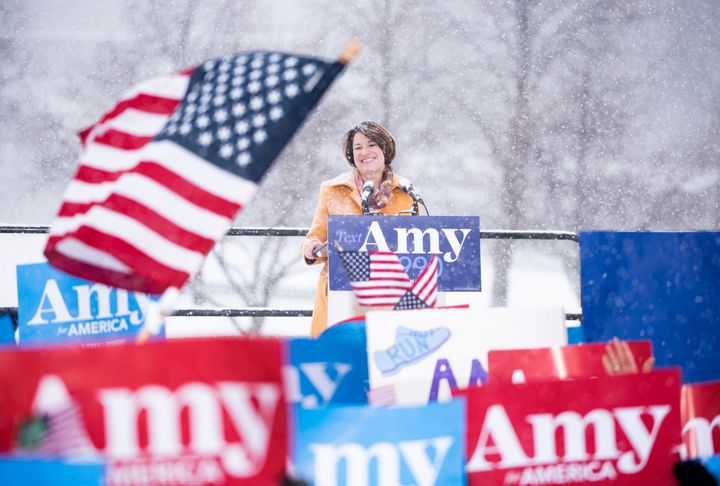 Sen. Amy Klobuchar (D-Minn.) announces her 2020 presidential bid on Feb. 10, 2019, in Minneapolis, Minnesota.