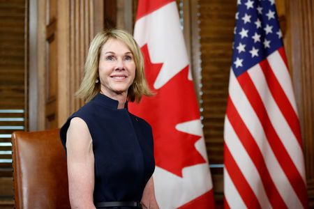FILE PHOTO: U.S. Ambassador to Canada Kelly Craft takes part in a meeting with Canada's Prime Minister Justin Trudeau in Trudeau's office on Parliament Hill in Ottawa, Ontario, Canada, November 3, 2017. REUTERS/Chris Wattie/File Photo