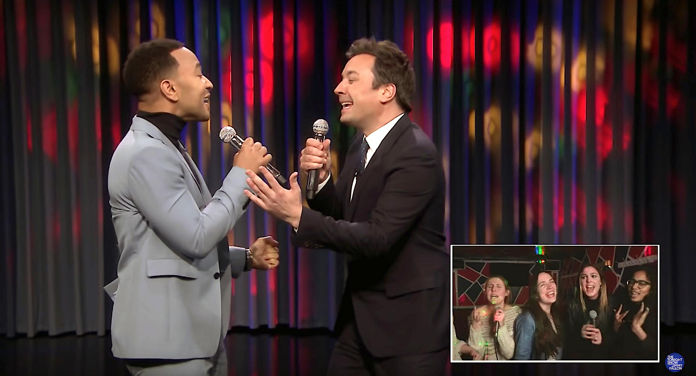 John Legend and Jimmy Fallon in Lip Syn Karaoke