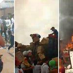 Vídeo mostra caminhão com ajuda humanitária na Venezuela pegando