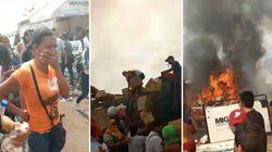 Vídeo mostra ajuda humanitária na Venezuela pegando fogo e desespero de