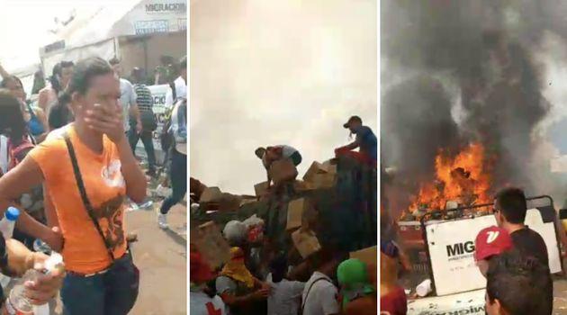 Caminhão com ajuda humanitária emUreña, na Venezuela, foi