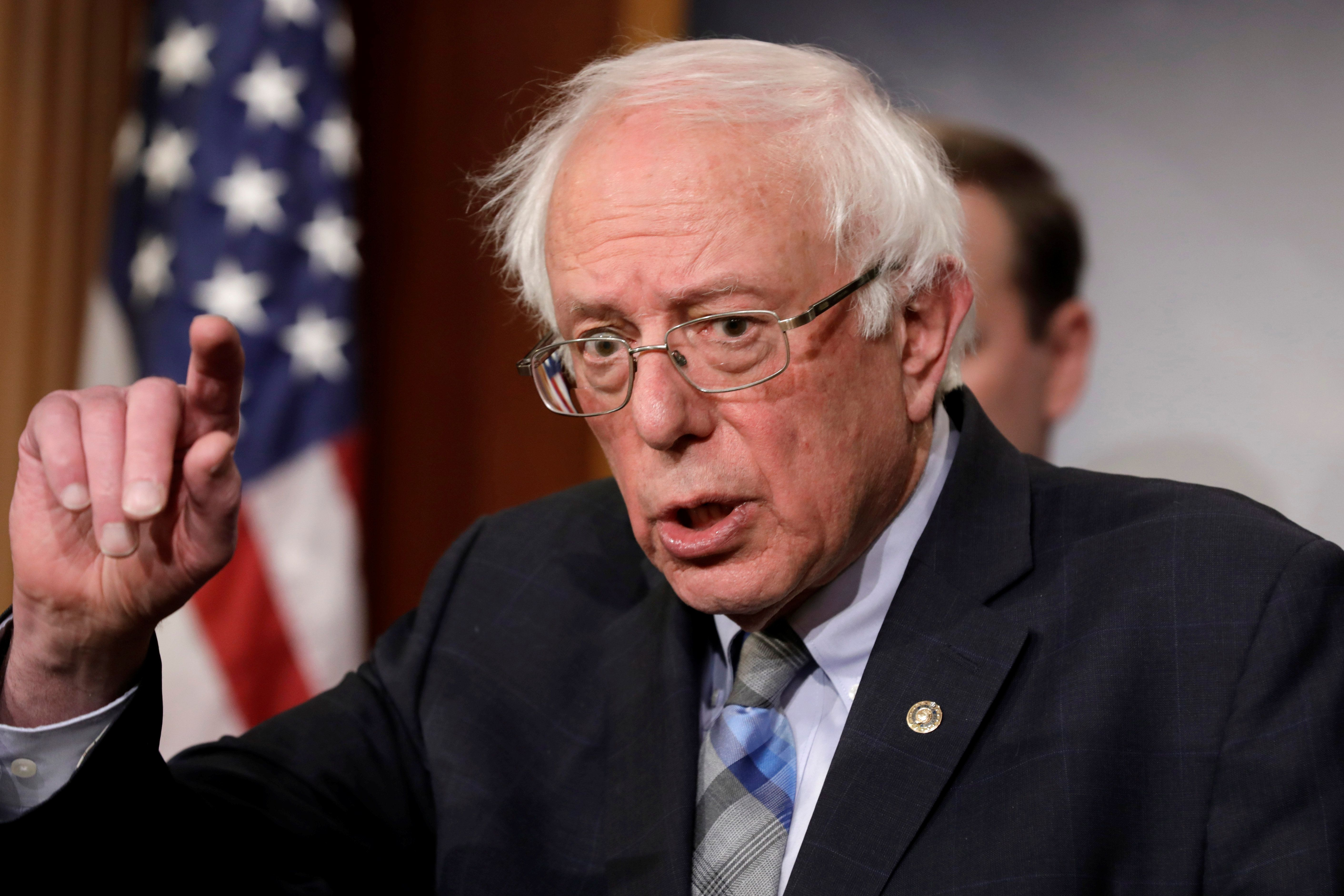 U.S. Senator Bernie Sanders speaks during a news conference on Yemen resolution on Capitol Hill in Washington, U.S., January 30, 2019. REUTERS/Yuri Gripas    .