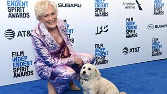 Glenn Close arrives at the 34th Film Independent Spirit Awards on Saturday, Feb. 23, 2019, in Santa Monica, Calif. (Photo by Richard Shotwell/Invision/AP)