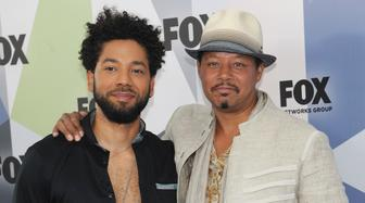 ***FILE PHOTO*** Jussie Smollett arrested for felony disorderly conduct for filing a false police report. NEW YORK, NY - MAY 14: Jussie Smollett and Terrence Howard at the 2018 Fox Network Upfront at Wollman Rink, Central Park on May 14, 2018 in New York City. Credit: John Palmer/MediaPunch /IPX
