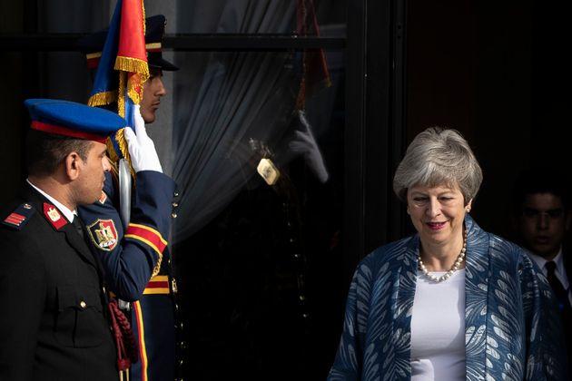 Theresa May bei ihrer Ankunft in Scharm el-Scheich.