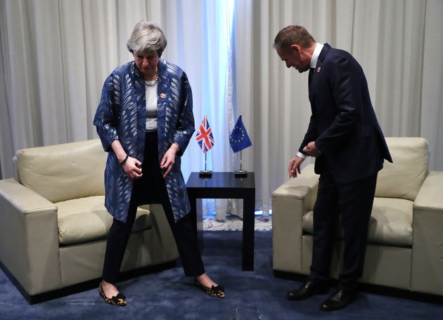 Theresa May meets European Council president Donald Tusk in Sharm el-Sheikh