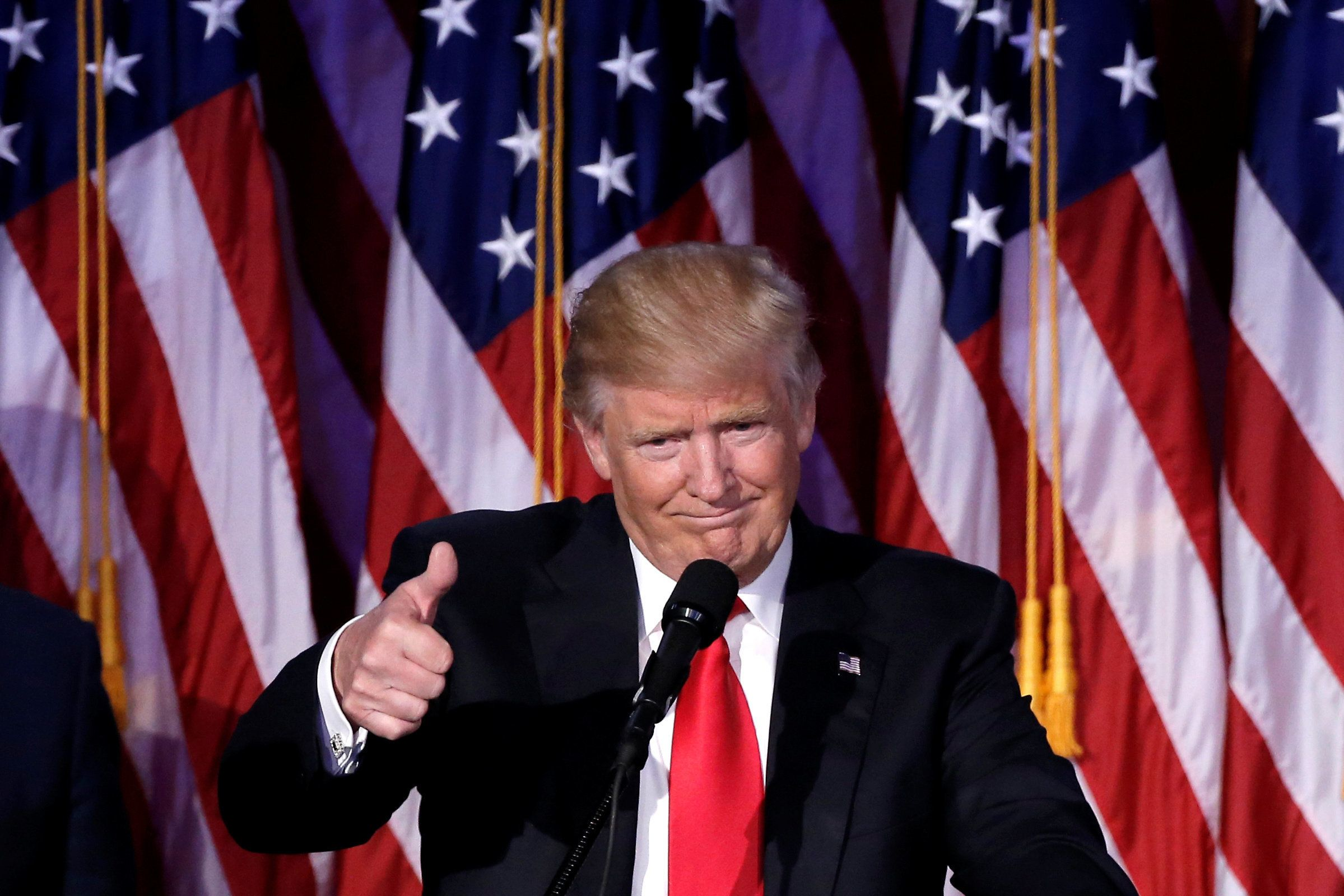 U.S. President-elect Donald Trump gestures as he speaks at election night rally in Manhattan, New York, U.S., November 9, 2016. REUTERS/Mike Segar