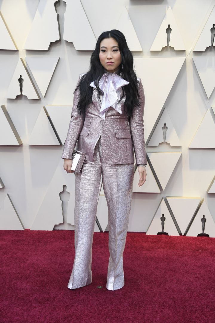 Awkwafina in a glittery DSQUARED² suit.
