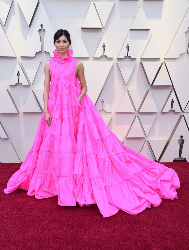 Gemma Chan in a pink Valentino gown.