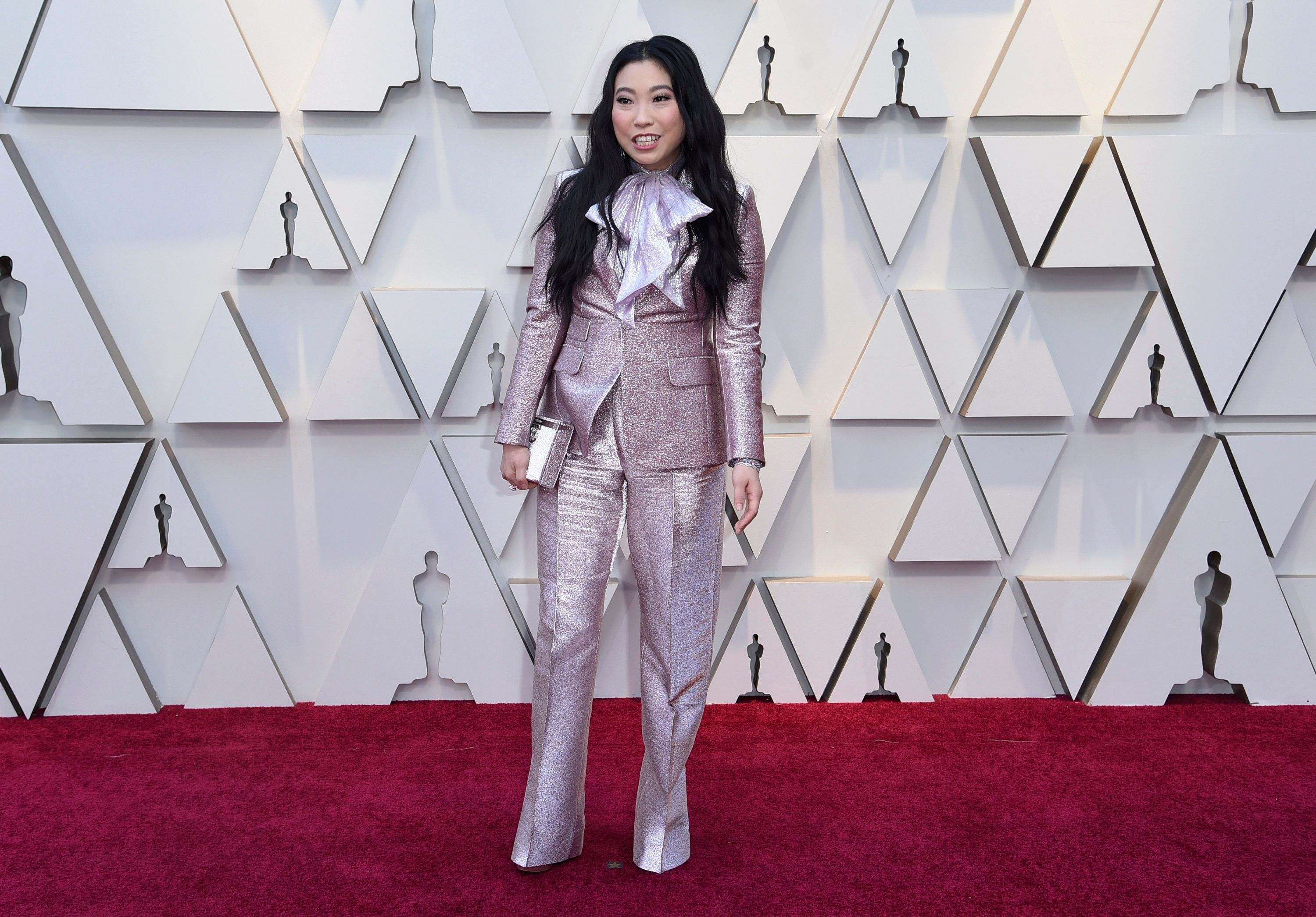 Awkwafina arrives at the Oscars on Sunday, Feb. 24, 2019, at the Dolby Theatre in Los Angeles. (Photo by Richard Shotwell/Invision/AP)