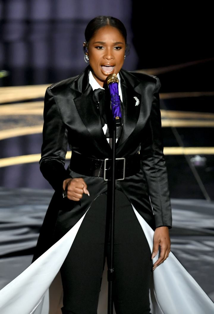 Jennifer Hudson rocked a black pantsuit with a dramatic train while performing onstage during the 91st Annual Academy Awards