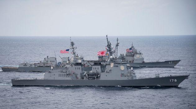 2017년 4월 28일 미일 해상 합동훈련