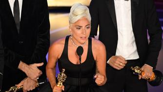 Best Original Song nominees for 'Shallow' from 'A Star is Born' Lady Gaga accepts the award for Best Original Song during the 91st Annual Academy Awards at the Dolby Theatre in Hollywood, California on February 24, 2019. (Photo by VALERIE MACON / AFP)        (Photo credit should read VALERIE MACON/AFP/Getty Images)