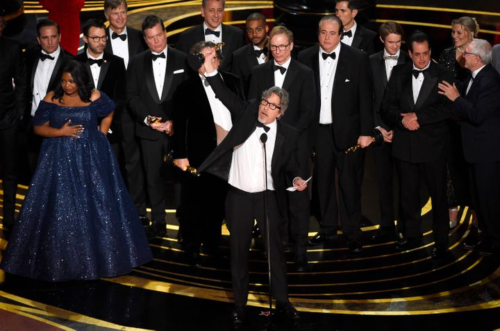 Peter Farrelly accepting Best Picture at the Oscars.