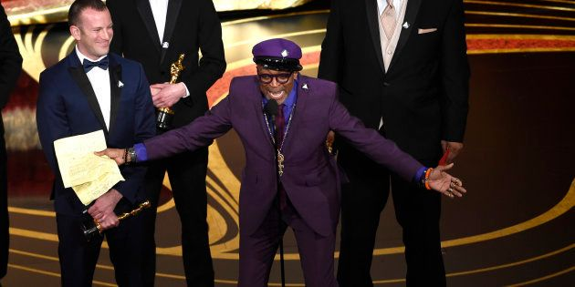 "Spike Lee accepting the award for Best Adapted Screenplay for ""BlacKkKlansman."""