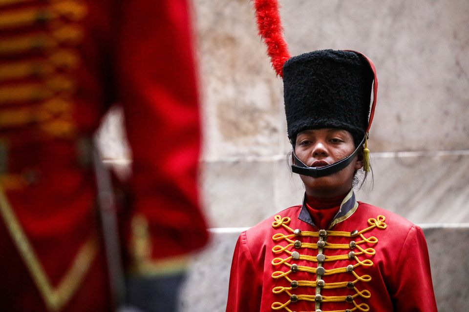 A serviceman of the Presidential Honour Guard at the National Pantheon of