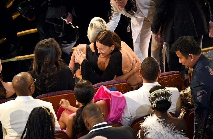 Lady Gaga and Irina Shayk hug during the 91st Annual Academy Awards at Dolby Theatre on February 24, 2019 in Hollywood, Calif