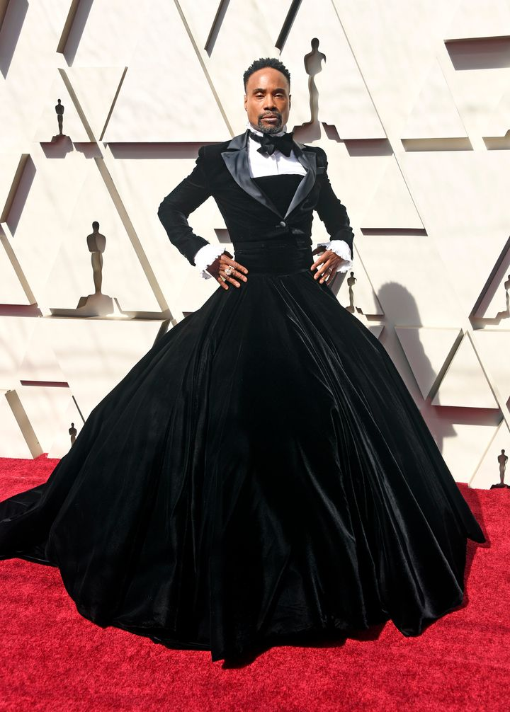 Bily Porter dressed in a custom Christian Siriano tuxedo gown.