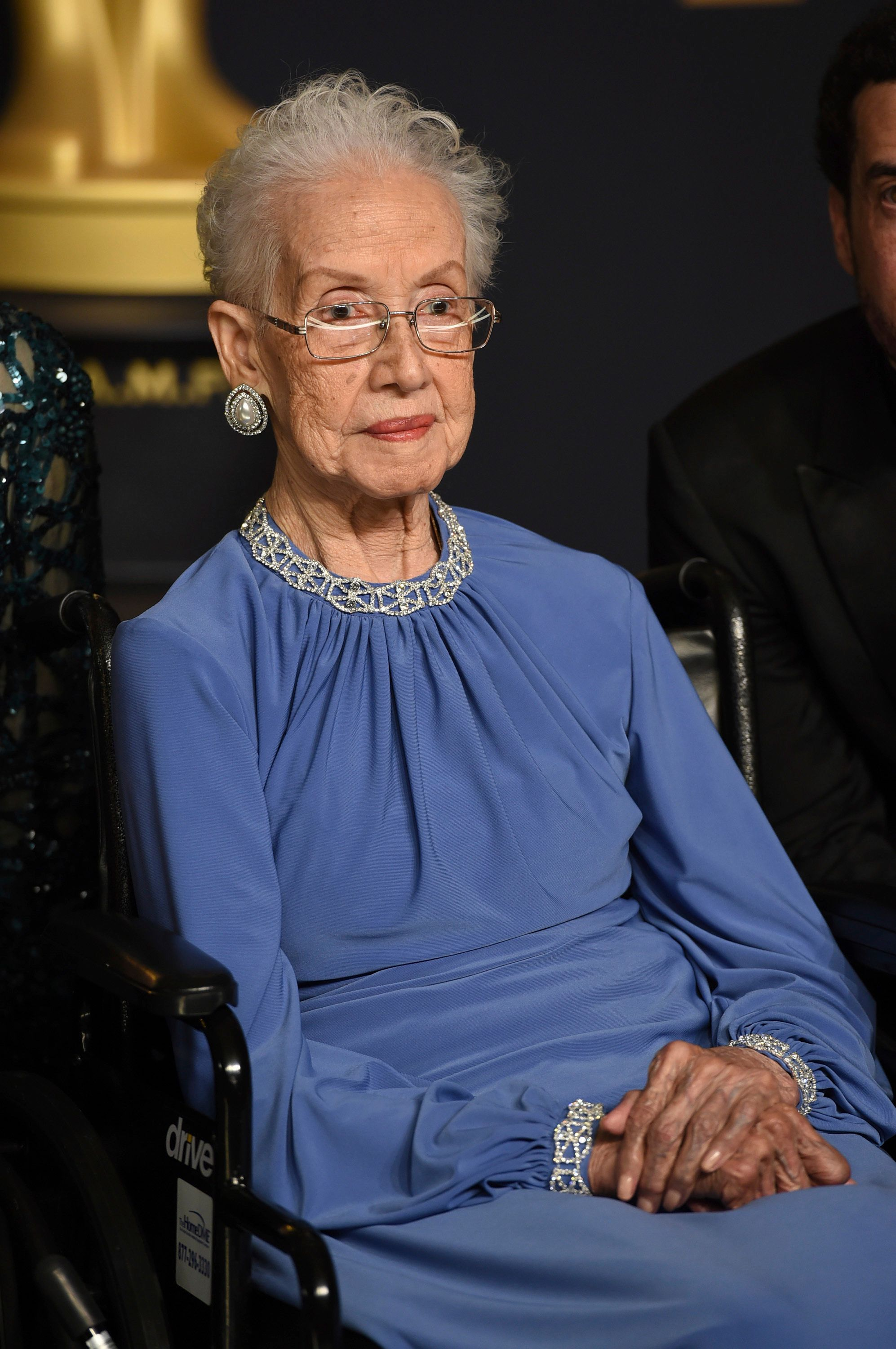 Katherine Johnson poses in the Oscars press room on Feb. 26,