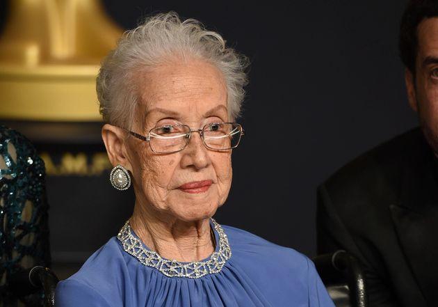 Katherine Johnson poses in the Oscars press room on Feb. 26,