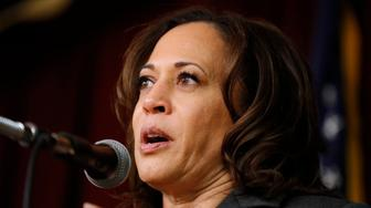 Democratic presidential candidate Sen. Kamala Harris speaks at the Story County Democrats' annual soup supper fundraiser, Saturday, Feb. 23, 2019, in Ames, Iowa. (AP Photo/Charlie Neibergall)