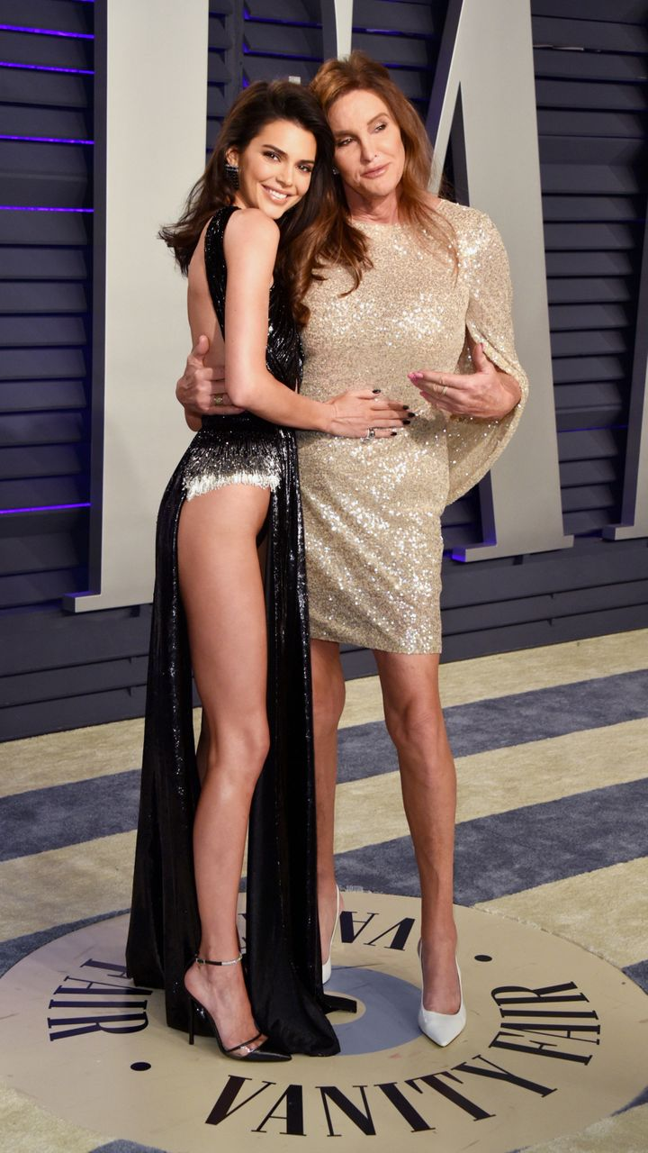 Kendall and Caitlyn Jenner on the Vanity Fair party's red carpet.