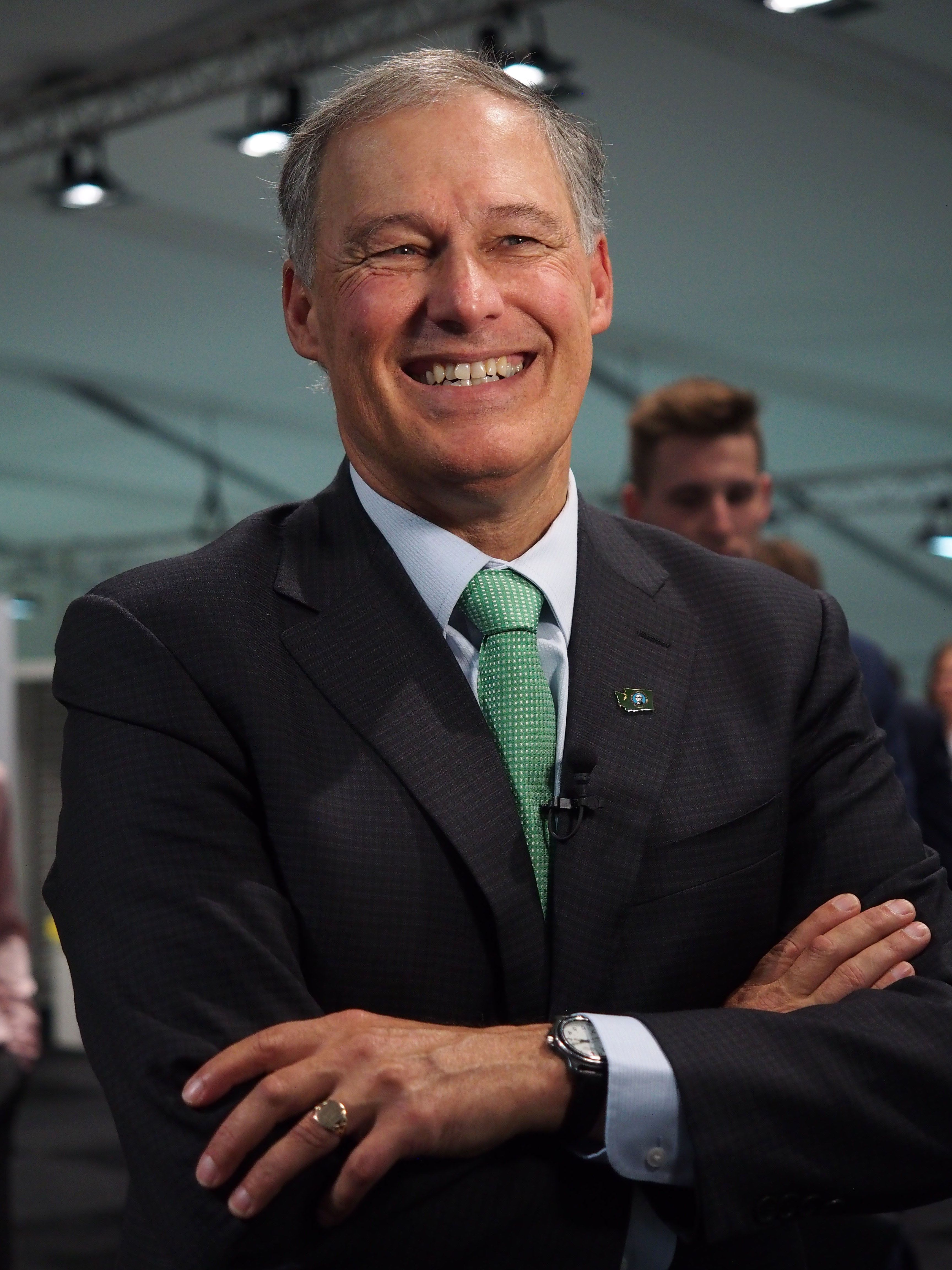 BONN, NORTH RHINE-WESTPHALIA, GERMANY - 2017/11/13: Jay Robert Inslee, governor of Washington, speaking at the United Nations Framework Convention on Climate Change - UNFCCC - COP23. (Photo by Fotoholica Press/LightRocket via Getty Images)