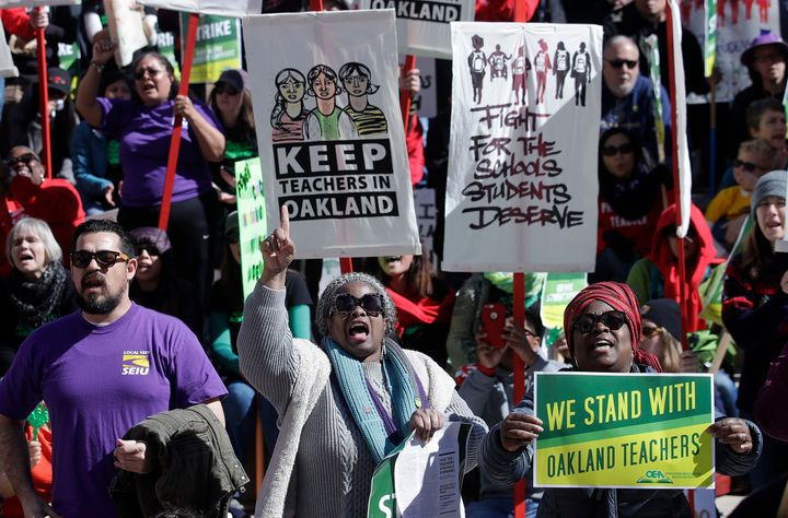Teachers, students and supporters rally in front of City Hall in Oakland, California, on Feb. 21. The teachers' union&n