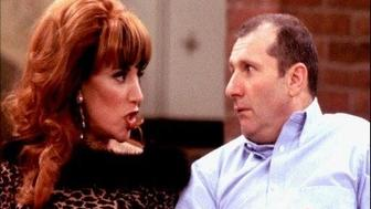 "Katey Sagal and Ed O'Neill as Peg and Al Bundy in scene from tv series ""Married With Children"", photo"