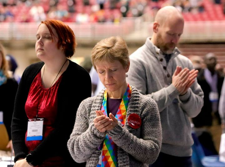 United Methodist Church delegates from Illinois participate in a day of prayer in St. Louis on Feb. 23, ahead of a special de
