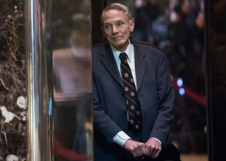 Physicist William Happer in the lobby of Trump Tower in Manhattan on Jan. 13, 2017.
