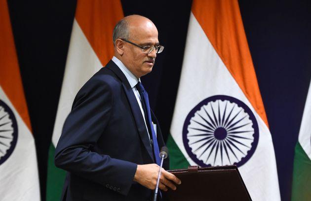 Indiens AußenministerVijay Keshav Gokhale bei einer