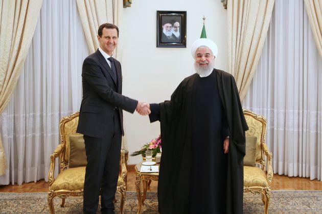 Le président syrien Bachar al-Assad et le président iranien Hassan Rohani à Téhéran,...