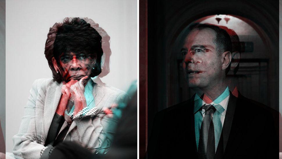 Maxine Waters, die Vorsitzende des Finanzausschusses im Repräsentantenhaus, und Adam Schiff, Vorsitzender...